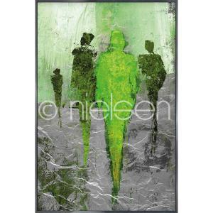 """Imagen con marco """"Abstract Figures Green"""" con marco de alumino Alpha"""