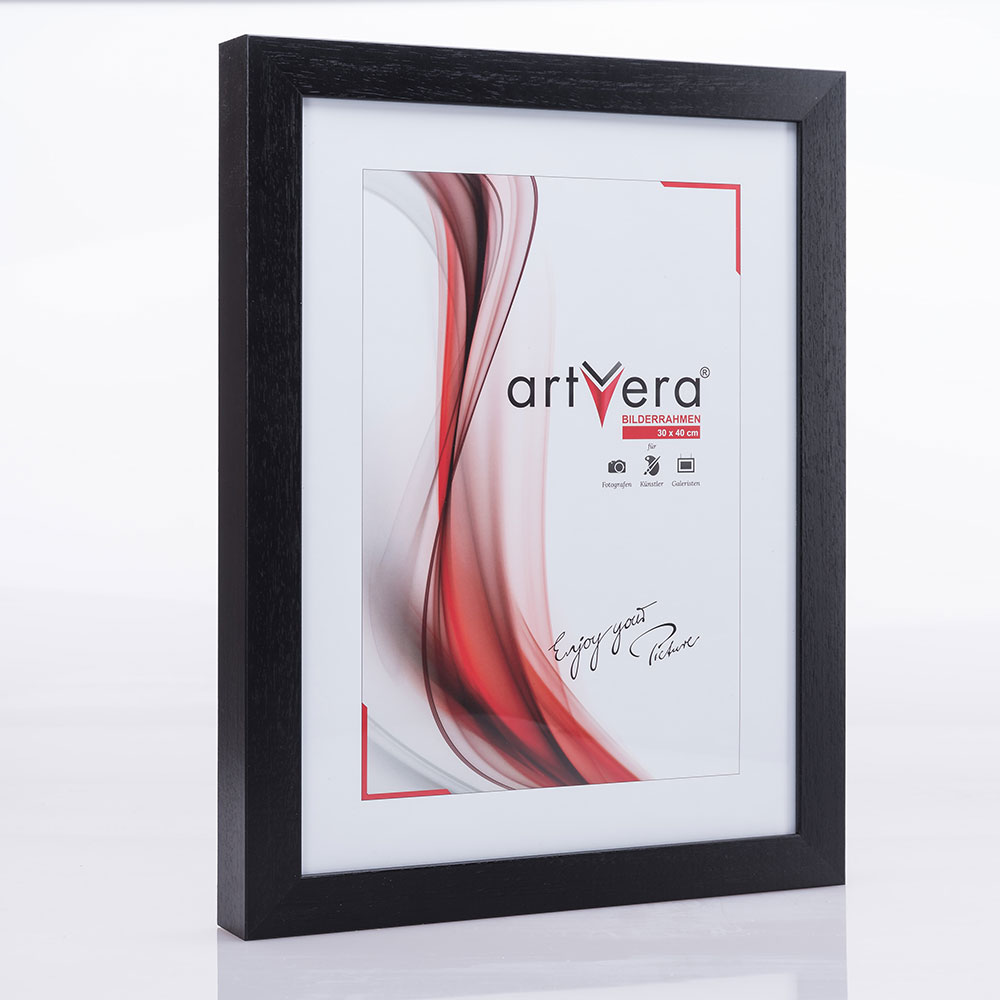 "Listel sueco ""Ystad"" de madera maciza 29,7x42 cm (A3) | negro, veteado | vidrio standard"