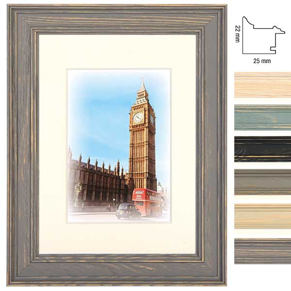 Marco de madera Capital London con paspartú