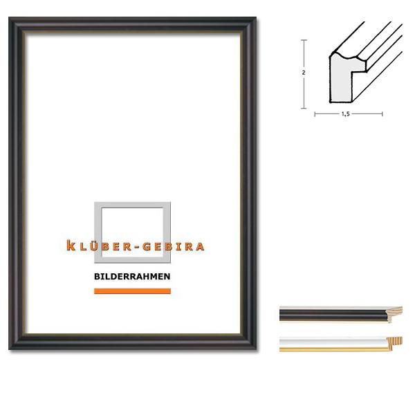 Marco de madera Granada 20x30 cm | negro, borde en oro | vidrio normal