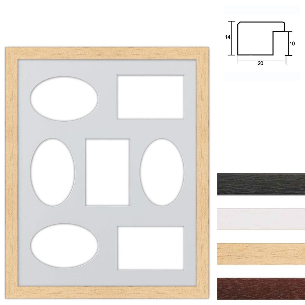 Marco galería de madera en 40x50 cm para 7 fotos