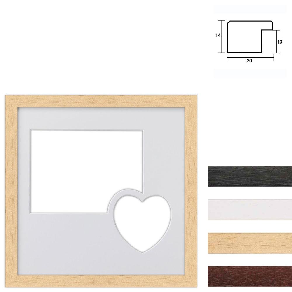 Marco galería de madera en 30x30 cm para 2 fotos con corazón