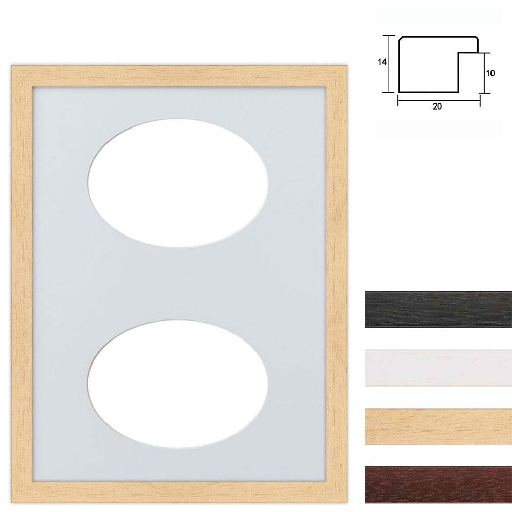 Marco galería de madera en 30x40 cm para 2 fotos Recorte ovalado