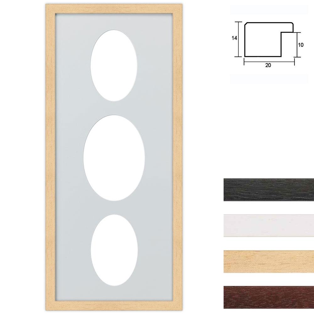 Marco galería de madera en 25x60 cm para 3 fotos Recorte ovalado