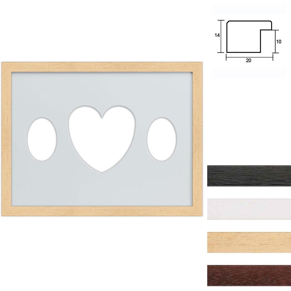 Marco galería de madera en 30x40 cm para 3 fotos Recorte ovalado con corazón