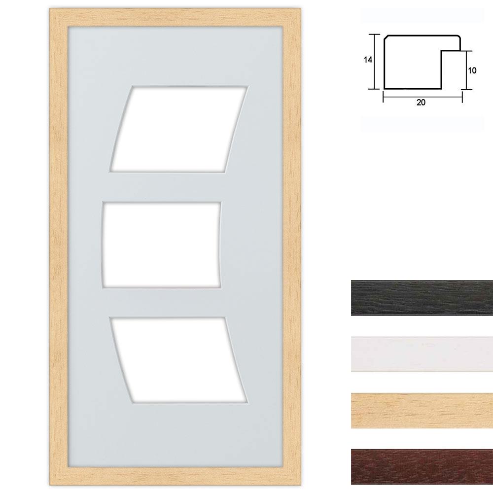 Marco galería de madera en 25x50 cm para 3 fotos Recorte de la hoja