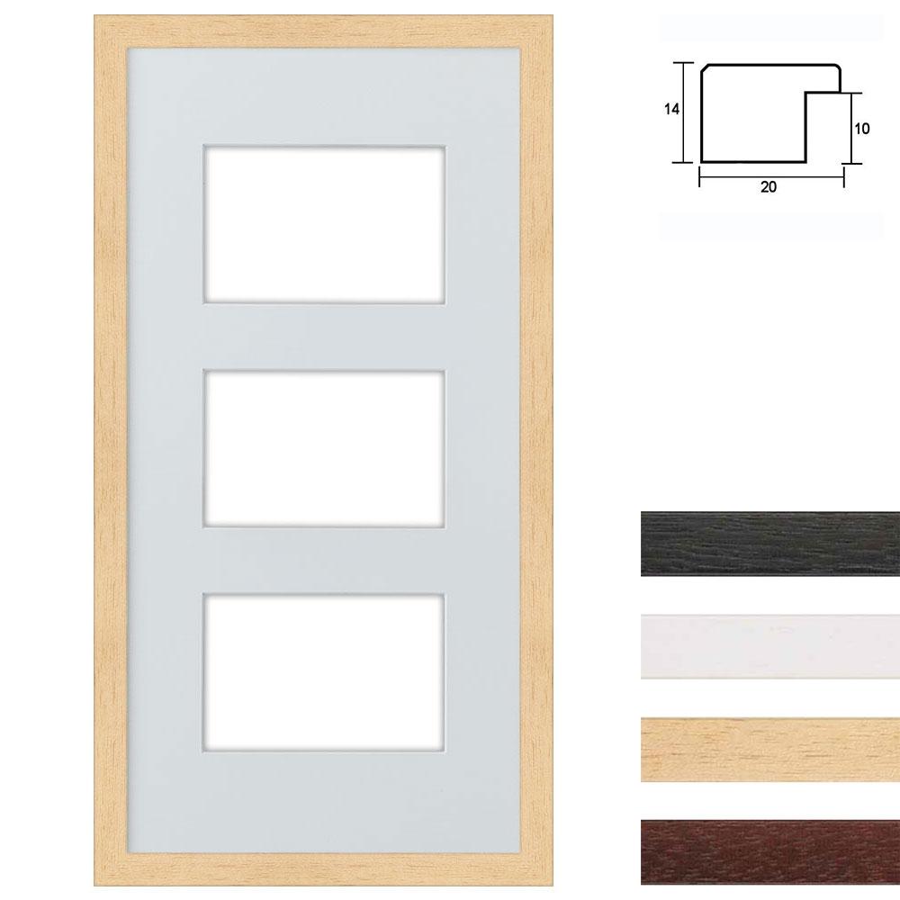 Marco galería de madera en 25x50 cm para 3 fotos