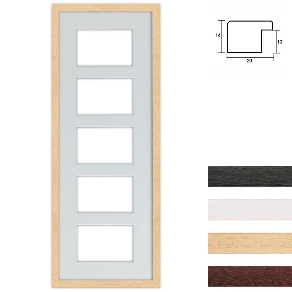 Marco galería de madera en 25x70 cm para 5 fotos