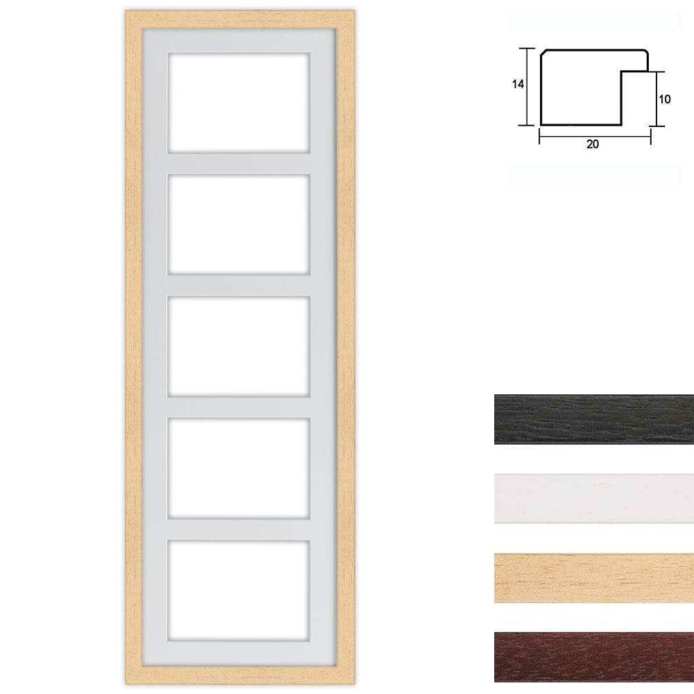 Marco galería de madera en 25x80 cm para 5 fotos