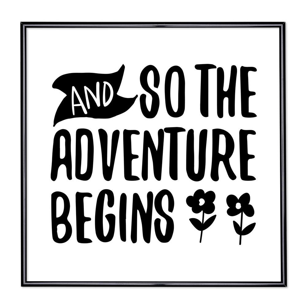 Marco con el lema - And So The Adventure Begins