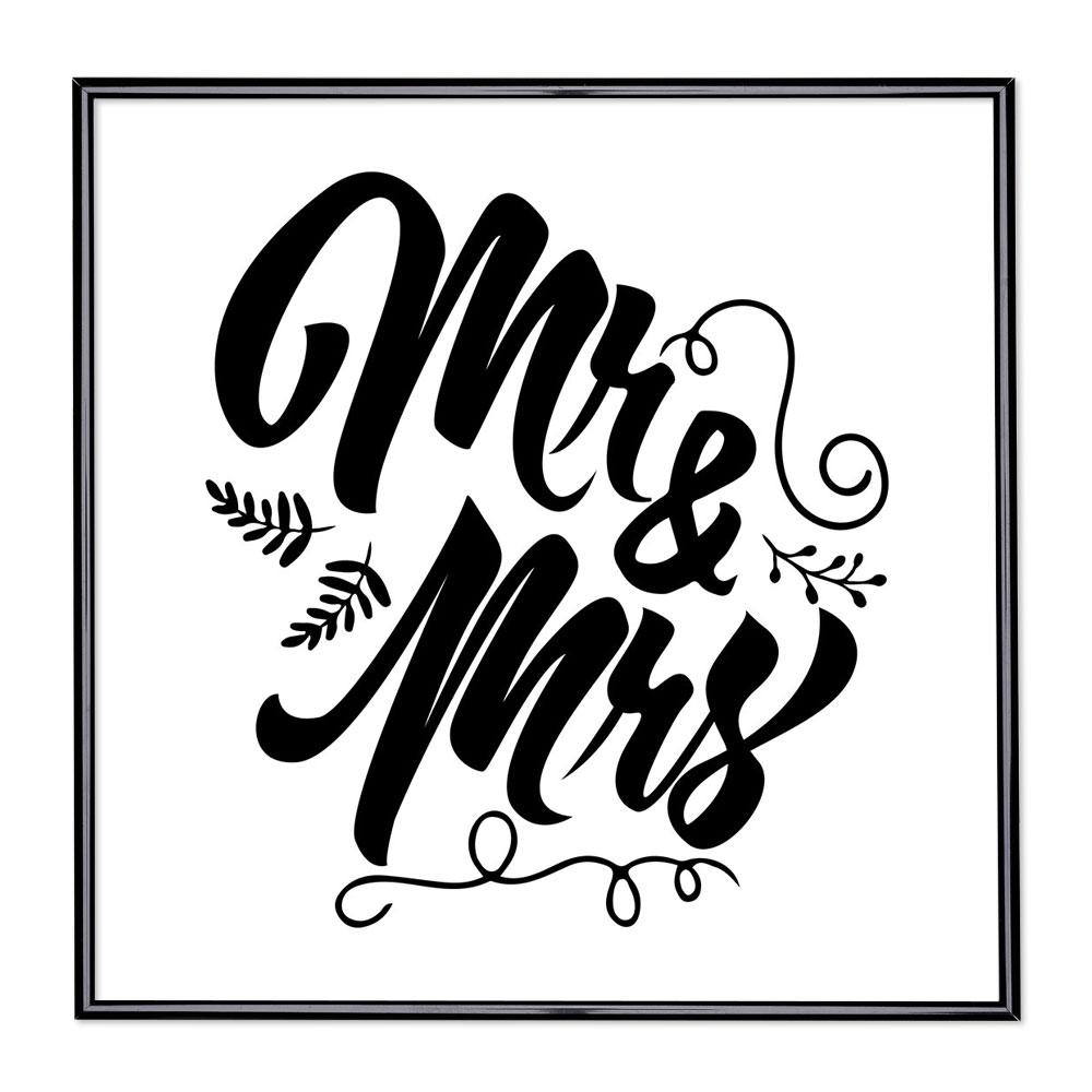 Marco con el lema - Mr & Mrs
