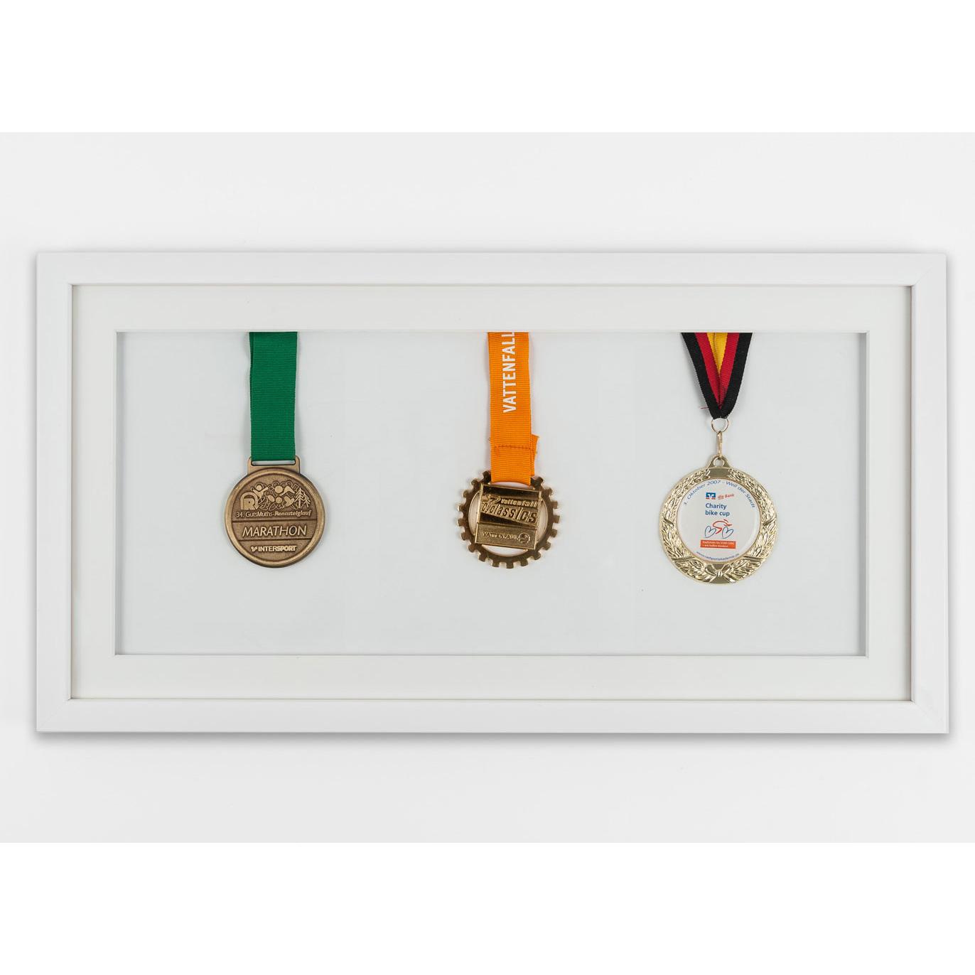 Marco para medallas 25x50 cm, blanco