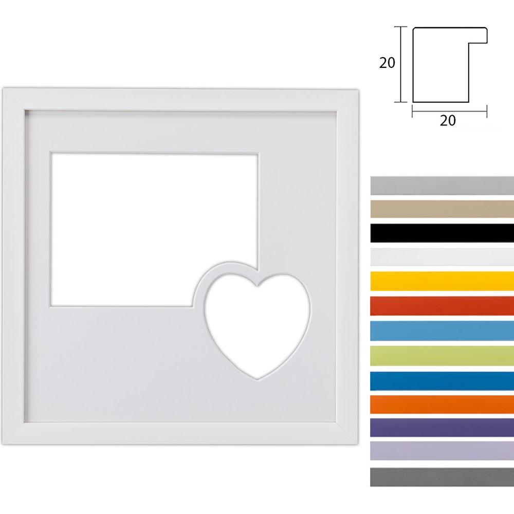 Marco galería Top Cube en 30x30 cm para 2 fotos con corazón