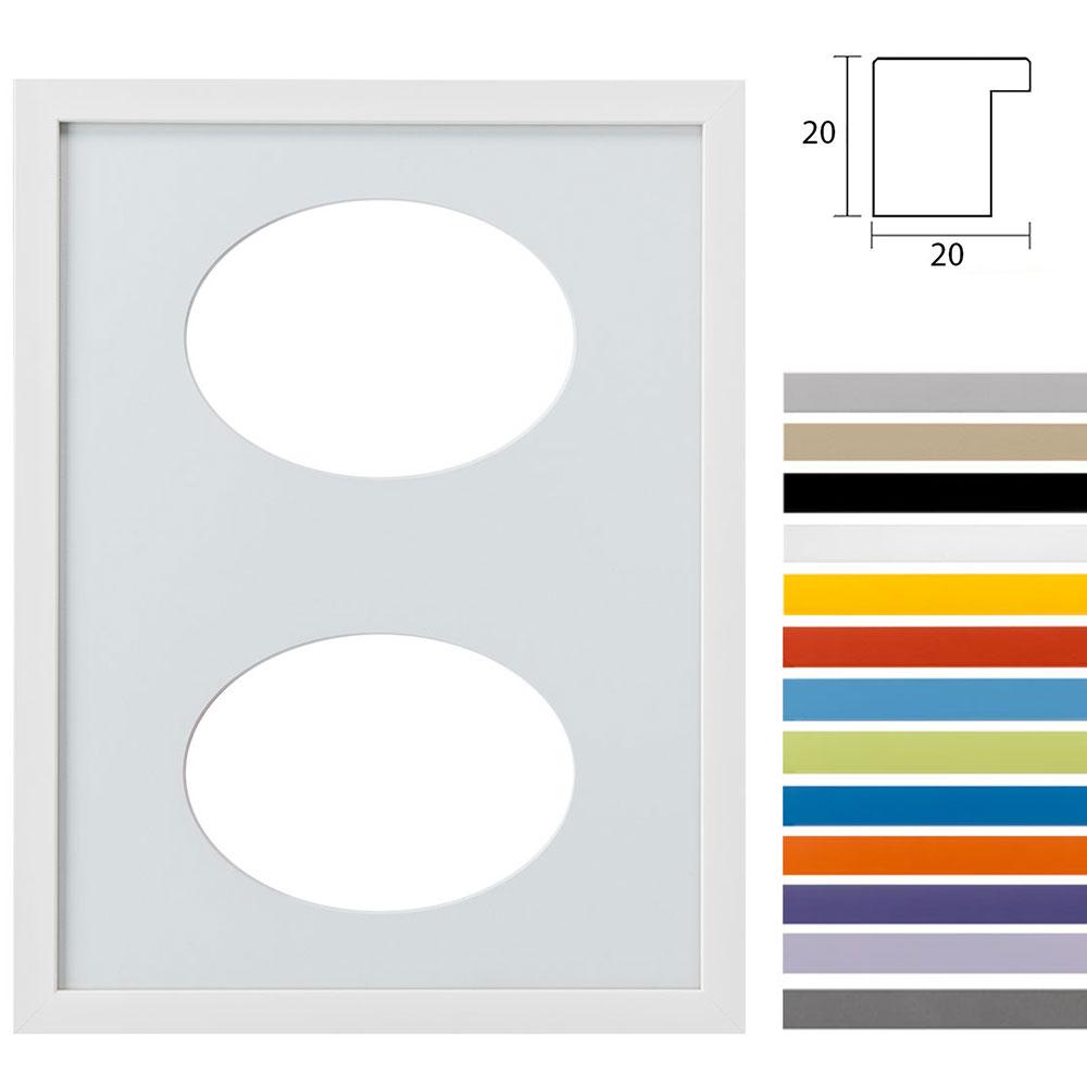 Marco galería Top Cube en 30x40 cm para 2 fotos Recorte ovalado