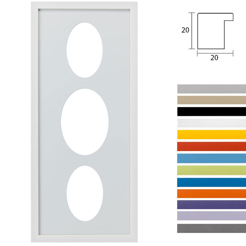 Marco galería Top Cube en 25x60 cm para 3 fotos Recorte ovalado