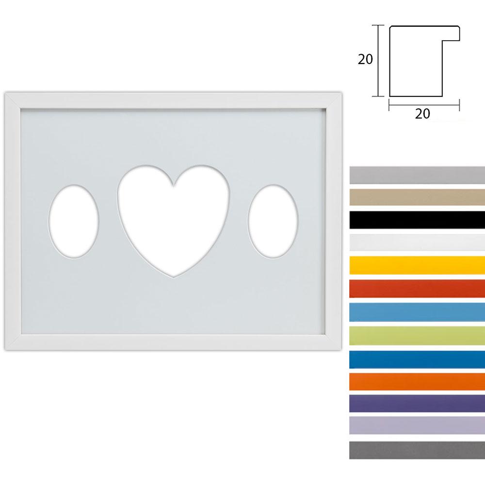 Marco galería Top Cube en 30x40 cm para 3 fotos Recorte ovalado con corazón