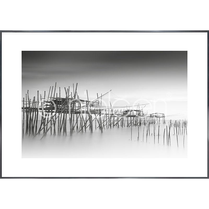 "Imagen con marco ""Malaysian Fishing III"" con marco de alumino Alpha"