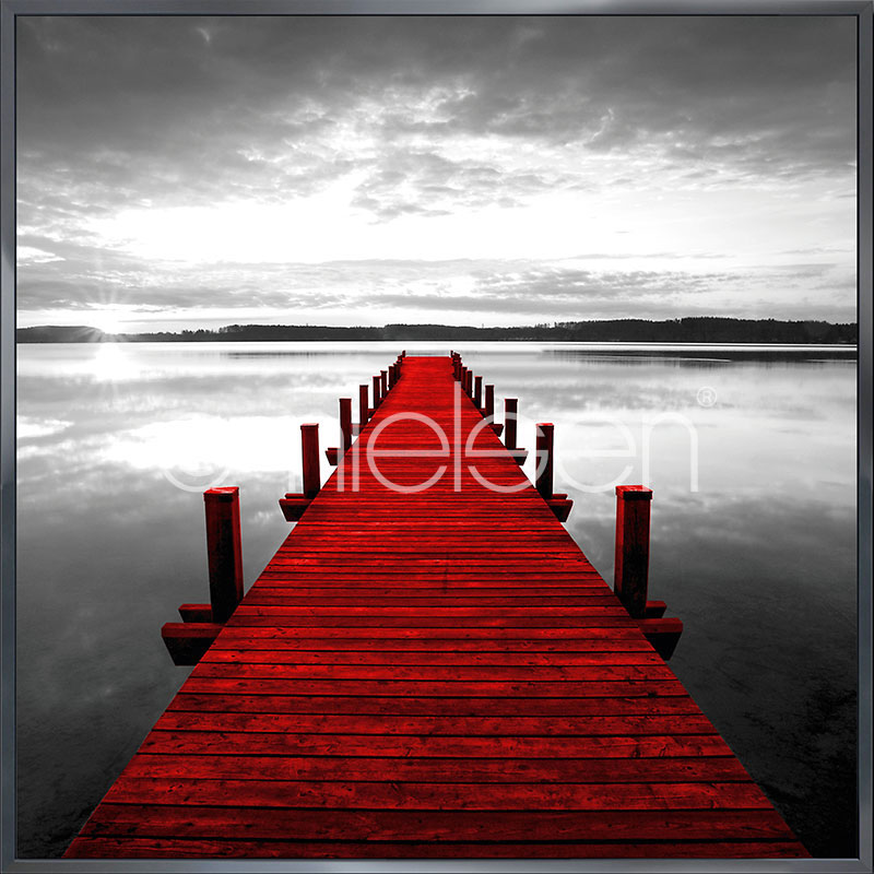 """Imagen con marco """"Footbridge red"""" con marco de alumino Alpha"""