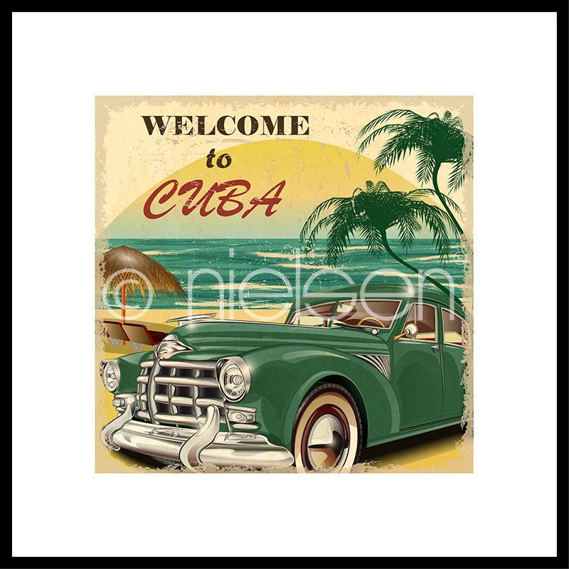 """Imagen con marco """"Welcome to Cuba"""" con marco de alumino C2"""
