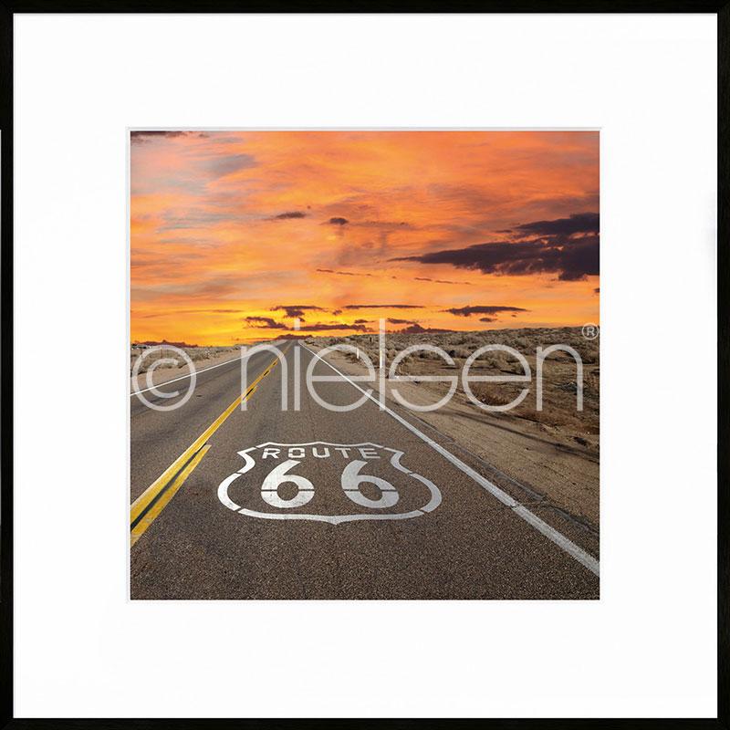 "Imagen con marco ""Route 66"" con marco de alumino C2"