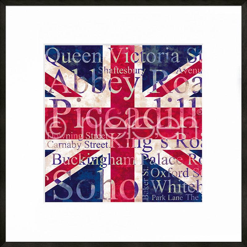 """Imagen con marco """"Union Jack"""" con marco de alumino C2"""