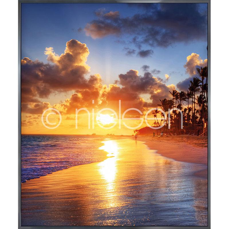 """Imagen con marco """"Sunset Beach"""" con marco de alumino Alpha"""
