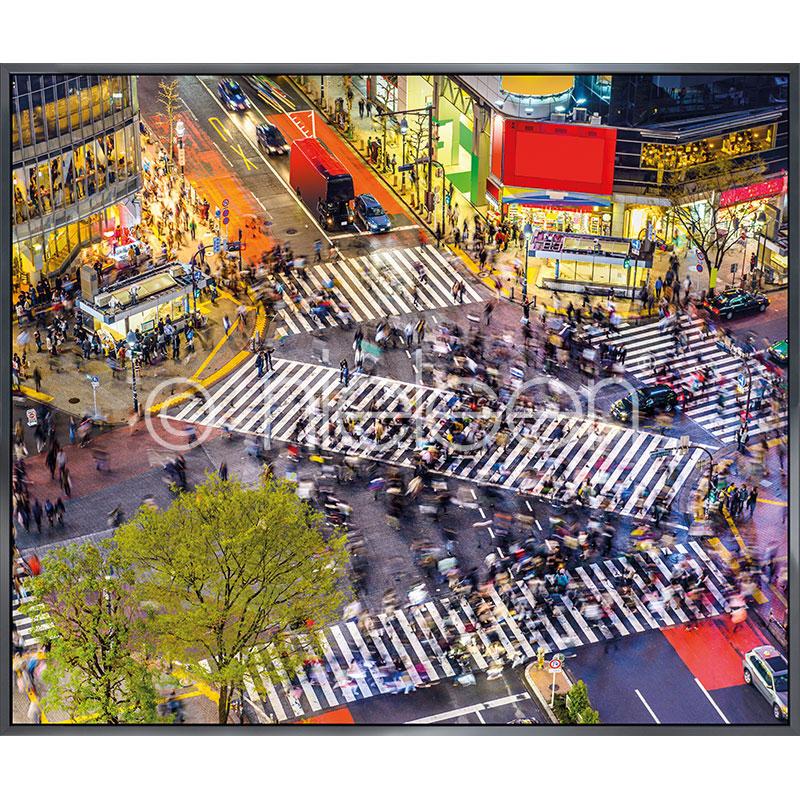 """Imagen con marco """"Tokyo Crosswalks"""" con marco de alumino Alpha"""