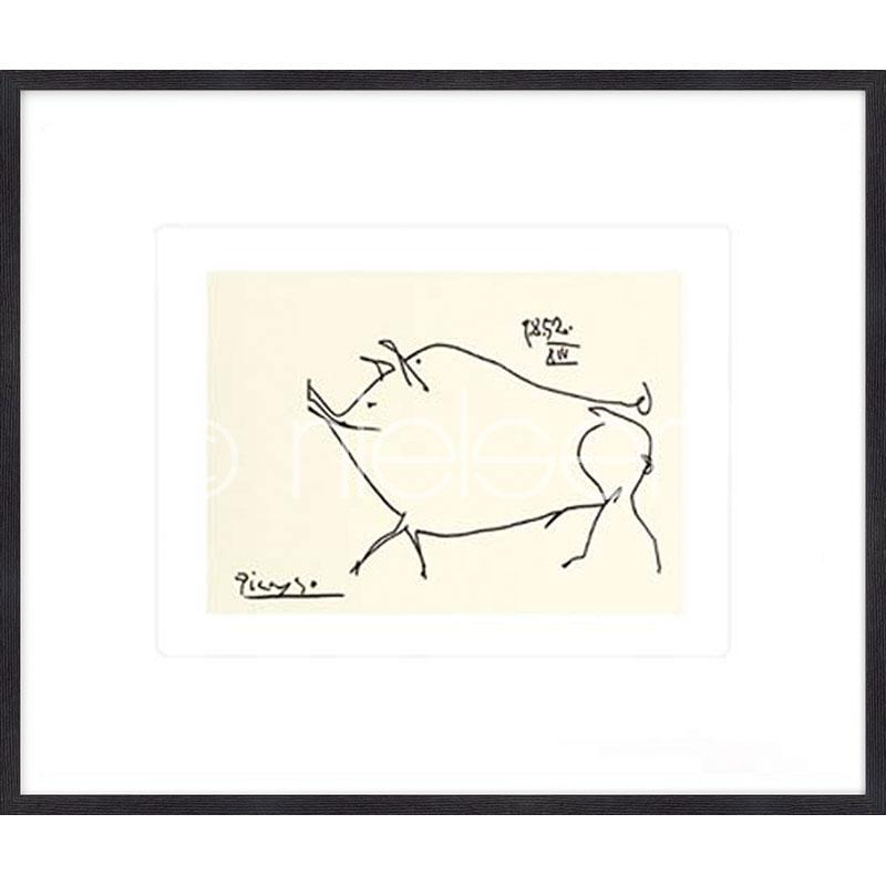 "Imagen con marco ""Le petit cochonPicasso"" mit Marco de madera Quadrum"