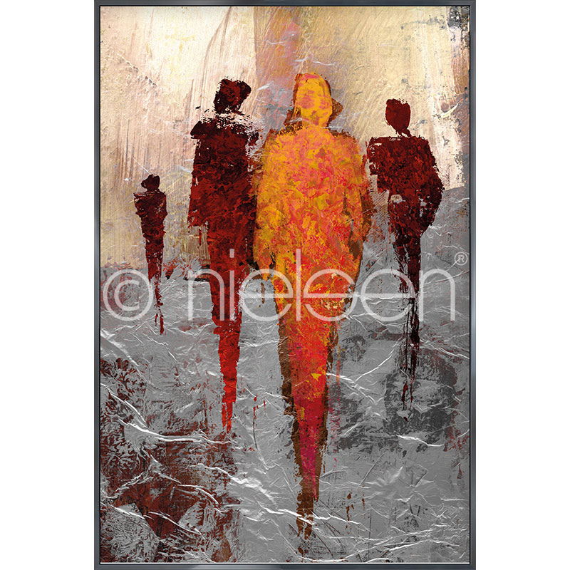 "Imagen con marco ""Abstract Figures Red"" con marco de alumino Alpha"