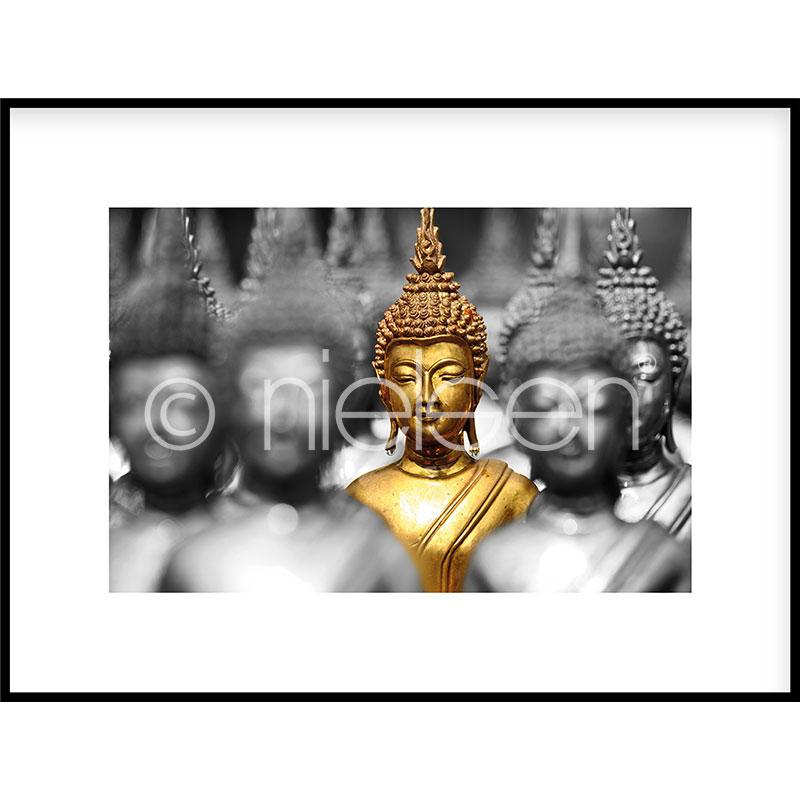 "Imagen con marco ""Buddha in gold"" con marco de alumino C2"