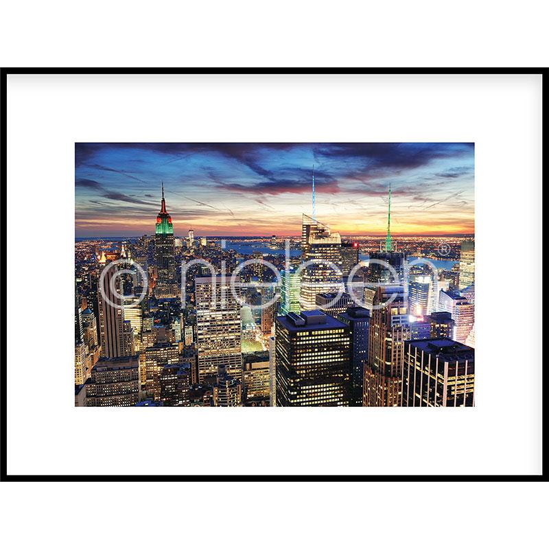 """Imagen con marco """"Skyline at Night"""" con marco de alumino C2"""