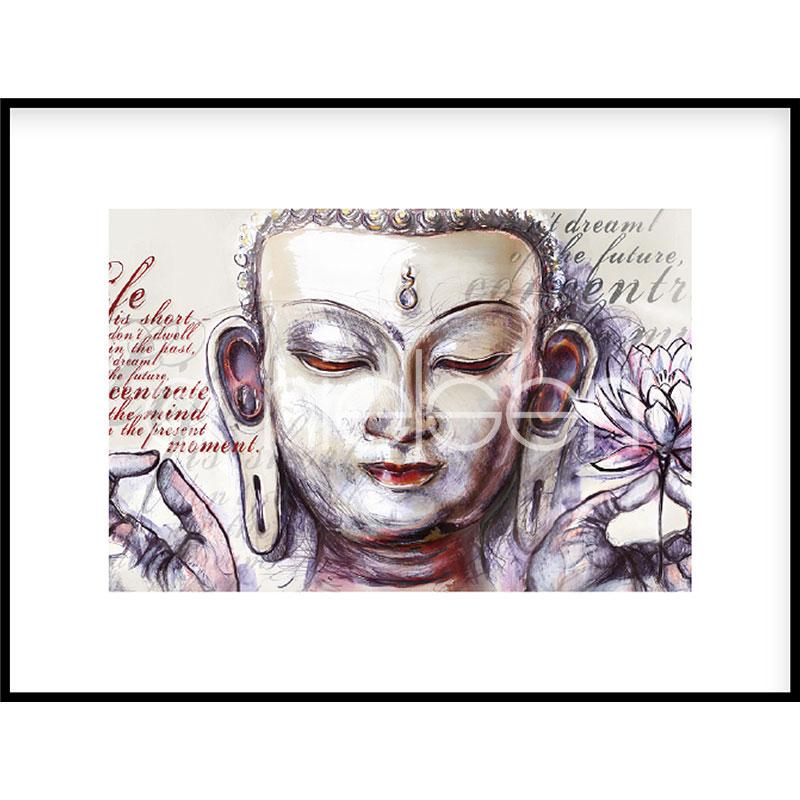 "Imagen con marco ""Buddha Pearcing"" con marco de alumino C2"