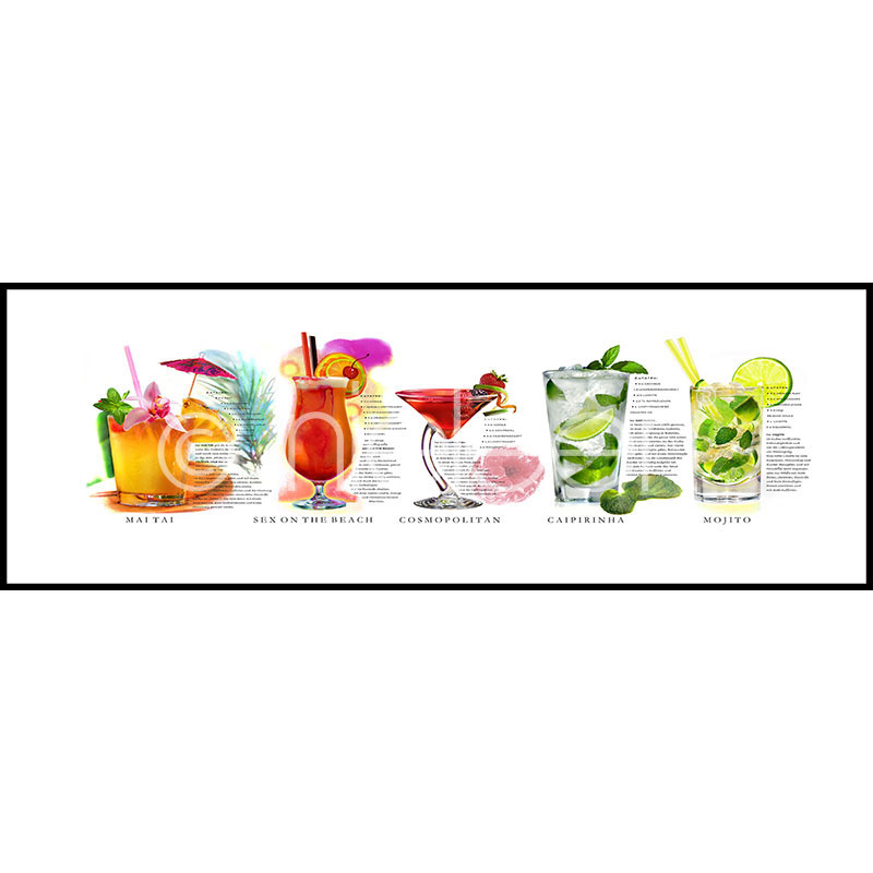 """Imagen con marco """"Cocktails"""" con marco de alumino C2"""