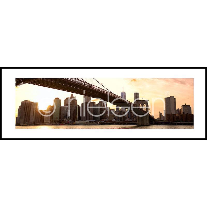 "Imagen con marco ""Brooklyn Bridge Sunset"" con marco de alumino C2"